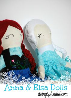 I made these dolls for my daughter who is a huge fan of the movie Frozen! A mini tutorial is provided including links to other dolls that use the same pattern. Enjoy! :)