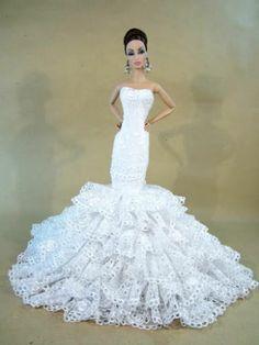 Eaki Wedding Bride Lace Dress Outfit Gown Silkstone Barbie Fashion Royalty Candi