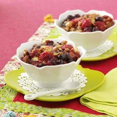 """Very Berry Crisp Recipe . . .""""I love this recipe because it's easy, low-fat, versatile and delicious! The crispy topping is flavored with graham cracker crumbs, cinnamon and almonds and doesn't taste light at all. Great with frozen yogurt or whipped topping."""" —Janet Elrod, Newnan, Georgia"""