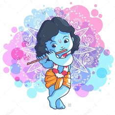 Little cartoon Krishna with a flute. Vector cartoon illustration on a purple spo. Emory emory_room Graphics Design Business Little cartoon Krishna with a flute. Vector cartoon illustration on a purple spotted background. Lord Krishna Images, Krishna Pictures, Krishna Photos, Hare Krishna, Krishna Art, Krishna Statue, Krishna Drawing, Krishna Painting, Buddha Painting