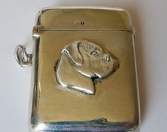 Antique Sterling Silver Vesta Case/Match Safe With Boxer Dog Plaque