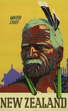 Maori Chief - Vintage NZ Tourism Poster - Check out Maori Chief – Vintage NZ Tourism Poster at New Zealand Fine Prints - New Zealand Art, New Zealand Travel, History Posters, Tourism Poster, Maori Art, Thing 1, Kiwiana, Vintage Art Prints, Feather Tattoos