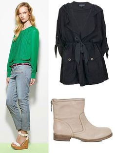 Beat the wet weather with this simple but chic look. Funky striped denim pants and perfect, light-weight, effortlessly cool jacket and statement boots.