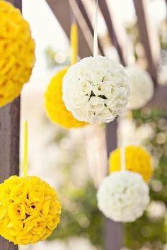 yellow and white pomander reception wedding flowers,  wedding decor, wedding flower centerpiece, wedding flower arrangement, add pic source on comment and we will update it. www.myfloweraffair.com can create this beautiful wedding flower look.
