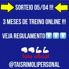 #SORTEIO !!! GANHE 3 MESES DE PERSONAL TRAINER ONLINE!! . #REGULAMENTO : . ✔️Siga NO #INSTAGRAM @taisrimolipersonal . ✔️ MARQUE 2 AMIGOS NA FOTO OFICIAL . E BOA #SORTE !!  . #VemTreinar . #CuideSe, #MexaSe, #VocePode ‼️ . Tais Rímoli CREF:035865-G/SP INSTAGRAM: @TAISRIMOLIPERSONAL . TAISPERSONAL.COM taispersonal5@gmail.com Especialista em Condicionamento Físico e Nutrição .  #taispersonal, #saúde, #health, #fitness, #fit, #treinoonline, #vocepode, #instagood, #ficaadica, #paposerio, #love