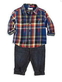 Ralph Lauren Baby's Three-Piece Plaid Workshirt, Jogger Pants & Be