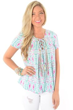 Turquoise and Violet Printed Top with Lace Up V-Neckline | Deep South Pout