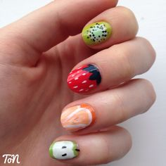 Day 08 of #tippedoffnailartchallengejuly fruit nails