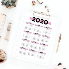 Pink printable calendar 2020 wall calendar, year at a glance desk calendar minimalist calendar, 2020 annual calendar planner yearly calendar Printable Calendar 2020, Yearly Calendar, Printable Planner, Printables, Unique Gifts, Handmade Gifts, Printable Thank You Cards, Desk Calendars, Etsy Crafts