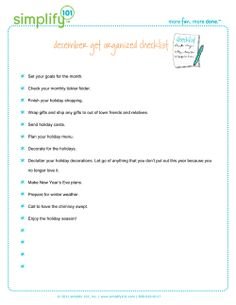 Have you downloaded your December Get Organized Checklist yet? Here's the link! Happy organizing and happy December. :)