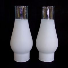 """Globes Pair of 2 Vintage White & Clear Glass Hurricane Lamp Shades 8-3/4"""" Globe in Collectibles, Lamps, Lighting, Shades 