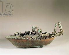 Etruscan bronze boat of the Noah C.750BC Vetulonia. Florence archaeological…