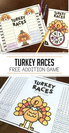 Turkey races: students practice adding numbers and making groups of ten! Turkey races: students practice adding numbers and making groups of ten! Fun Math, Math Games, Math Activities, Kids Math, Math 2, Therapy Activities, Teaching Resources, Thanksgiving Activities, Thanksgiving Turkey