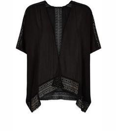 New Look - Black Crochet Trim Kimono