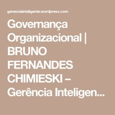 Governança Organizacional | BRUNO FERNANDES CHIMIESKI – Gerência Inteligente – Eng. Bruno Fernandes Chimieski