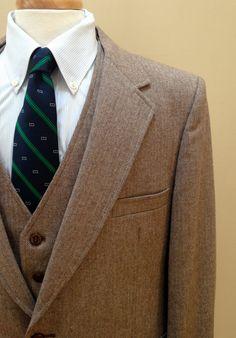 Reserved  3 Piece Suit  Brown Herringbone  by theivyleaguestore