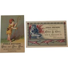 2 Steele Brothers China and Glass Ware Victorian Trade Cards