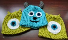 Free Pattern - Mike and Sulley Monsters Inc Crochet hats (Made a Mike Wazowski hat for my fiancé but with my own pattern)