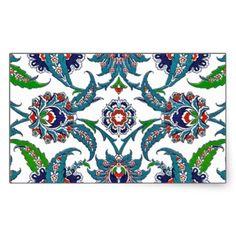 Tile Turkish Iznik Girih Ethnic Floral Pattern Rectangle Stickers