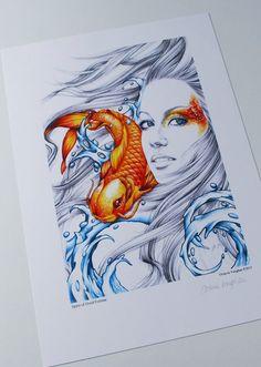 Koi Fish and Mermaid Tattoo  Spirit of Good by OctaviaTattoo, £24.99