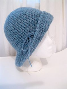 Vintage Hat, Crochet Hat, Winter Hat, Cloche, Blue by mailordervintage on etsy