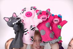 The Three Little Pigs Hand Puppets by ShopShelle on Etsy, $39.00