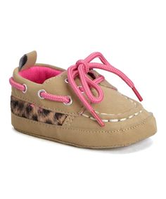 Look at this Laura Ashley Beige & Pink Boat Shoe on #zulily today!