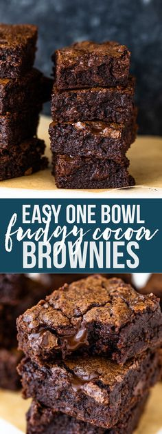 Super fudgy and dense cocoa brownies are gooey on the inside, have a crinkly top, and are made with just 6 ingredients in under 30 minutes! This easy recipe One Bowl Brownies, How To Make Brownies, Cocoa Brownies, Best Brownies, No Egg Brownies, Quick Easy Brownies, No Bake Brownies, Fudgy Brownies, Easy Desserts