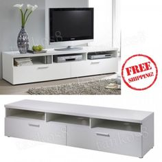 White-Wood-TV-Stand-71-in-Media-Storage-2-Wide-Drawers-3-Open-Shelves