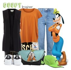 """Goofy (Fab Five & Co.)"" by claucrasoda ❤ liked on Polyvore featuring Moschino, eWatchFactory, Topshop, Puma, adidas and Isolde Roth"