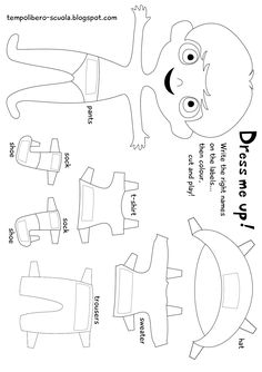 tempo libero: Dress me up-english learning with a paperdoll. Learning English For Kids, Kids English, English Book, Teaching English, Learn English, English Resources, English Activities, Education English, English Lessons
