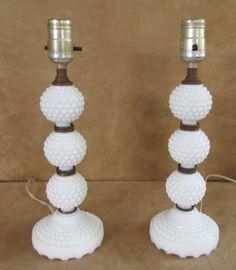 Vintage Hobnail Milkglass Lamp Pair Bedside Vanity Table electric milk white