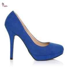 ShuWish UK - Escarpins talon haut imitation daim bleu électrique EVE - Daim bleu électrique, synthétique, 5 UK / 38 EU - Chaussures shuwish uk (*Partner-Link)