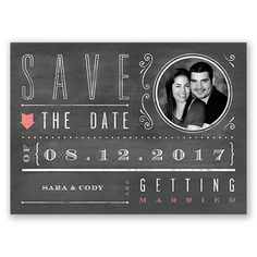 Add a little rustic charm to your save the dates with our Chalkboard Typography Save the Date Postcard from David's Bridal. Save The Date Postcards, Save The Date Cards, Chalkboard Typography, Davids Bridal, Wedding Invitations, Dating, Rustic Charm, Wedding Ideas