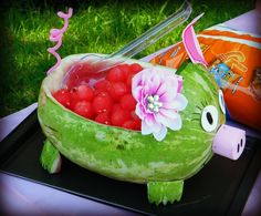 The watermelon carving my friend and I did.When I decided to do a piggy party for my one year old I didnt know how RARE it is to find ANYTHING pig. So for you ladies who want to do one as well here are some ideas for you. We created Walters Walters Moore Watermelon Pig, Watermelon Designs, Watermelon Carving, Watermelon Ideas, Pig Party, Luau Party, Hillbilly Party, Luau Birthday, Birthday Ideas
