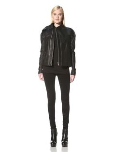 71% OFF RICK OWENS Women\'s Structured Leather Jacket (Black)