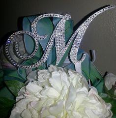 Stunning Swarovski Crystal Cake Topper Initial 4 Any by OCsparkles, $65.00