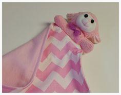 Baby Security Blanket Baby lovie lovey chevron  by PegsSewCrafty