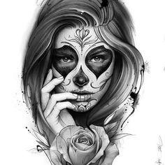 Visage de fille sublime ressemblance à Cassandra en style muerte avec une croix sur le front, des roses, un couteau, un coeur, une aile d'ange, une fauche et un pistolet à la main. Cicatrice sur la main squelettique de la fille. Une cigarette ds la bouche. Ensemble hyper gothique, effrayant.