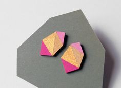 Geometric diamond geo shape stud earrings - hot pink, rose, gold, natural wood - minimalist, modern hand painted wooden jewelry by TheiaDesign on Etsy https://www.etsy.com/listing/246804491/geometric-diamond-geo-shape-stud