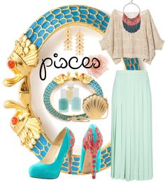 """""""Pisces Love!"""" by dahunsi ❤ liked on Polyvore  I would change the heels to some cute sandals."""