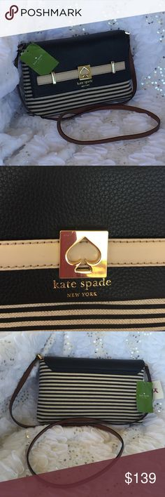"% Authentic  spade handbag loula Black/natural •magnet closure •21"" shoulder drop •crossbody with magnetic closure. •Natural straw & leather. Belted detail with spade logo •gold embossed kate spade new york logo interor zipper and double slide pockets 10""x6""x2"" (LxHxD) with a 21"" strap drop Kate Spade Bags Crossbody Bags"