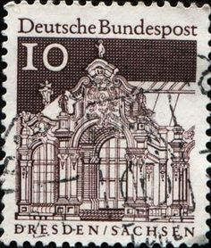 german castle stamps: GERMANY-CIRCA 1964:A stamp printed in GERMANY shows  Dresden is the capital city of the Free State of Saxony in Germany, circa 1964