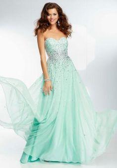 Mint Mori Lee 95090 Long Flowy Empire Waist Prom Gown
