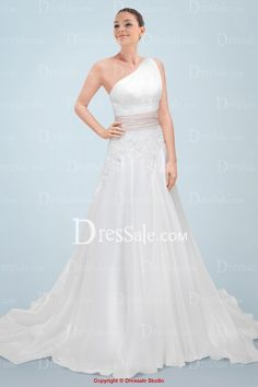 Show-stopping One-shoulder Wedding Dress Highlighted by Lace Bodice and Pink Cummerbund