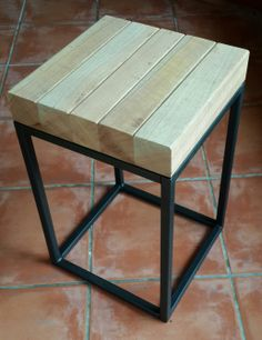 Stool / side table made of square tubing & repurposed meranti railing posts, by Tonie of EarthWorks