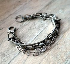 Oxidized chain bracelet, Raw Sterling Silver, Hammered Sterling Silver, Multi Strand Bracelet One of chains is handmade, each link is unique and different, one is made by silver wire has been hammered and flattened has solid large clasp The bracelet is made of 100% sterling silver 925 is