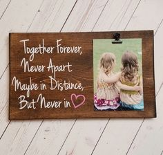 Best Friend, Long Distance Relationship Picture Frame gift! Gift for friend, sister, photo board picture with clip wood frame, bridal shower by 213Designs on Etsy https://www.etsy.com/listing/486496777/best-friend-long-distance-relationship