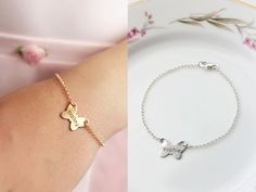 Children& Engraved Butterfly Bracelet - Personalized Keepsake Engraving / Flower Girl Wedding Child Gift / Engrave Name Initial Icon Diamond Initial Necklace, Diamond Choker Necklace, Delicate Gold Necklace, Gold Bar Necklace, Name Bracelet, Initial Bracelet, Butterfly Bracelet, Bridesmaid Jewelry Sets, Or Rose