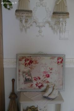 Cadre et tissu ancien  Brocante de charme atelier cosy.fr